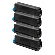 FG Encre Cartouche de Toner Compatible pour Oki C3100-C5100 BK/C/M/Y Lot de 4