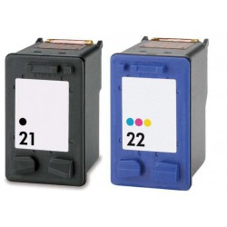 HP Pack N°21 + N°22 Cartouches Compatibles