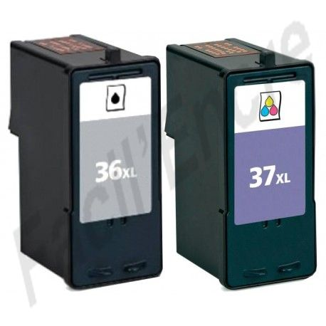 LEXMARK Pack n°36XL + n°37XL Cartouches compatibles