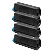 OKI C3100-C5100 BK/C/M/Y Lot de 4 Cartouches Toners Lasers Compatibles