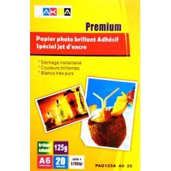 Papier Photo Brillant A6 125g / 20 feuilles adhésives