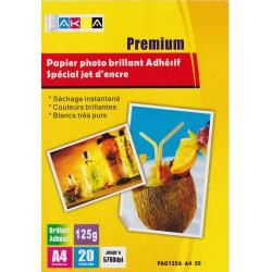 Papier Photo Brillant A4 120g / 20 feuilles adhésives