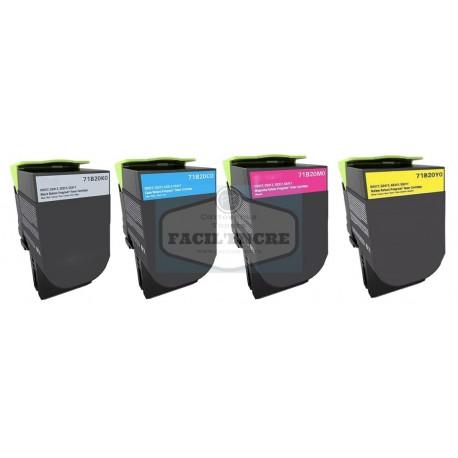 FG ENCRE Pack de 4 Cartouches Remanufacturées pour LEXMARK CS317 / CX317 / CX417 / CS417 / CX517 / CS517